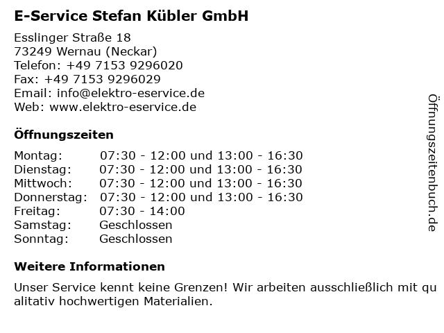 E-Service Stefan Kübler GmbH in Wernau (Neckar): Adresse und Öffnungszeiten