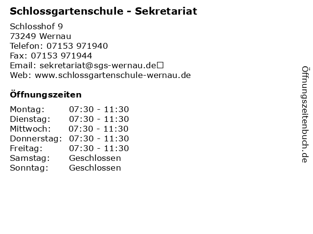 Schlossgartenschule - Sekretariat in Wernau: Adresse und Öffnungszeiten