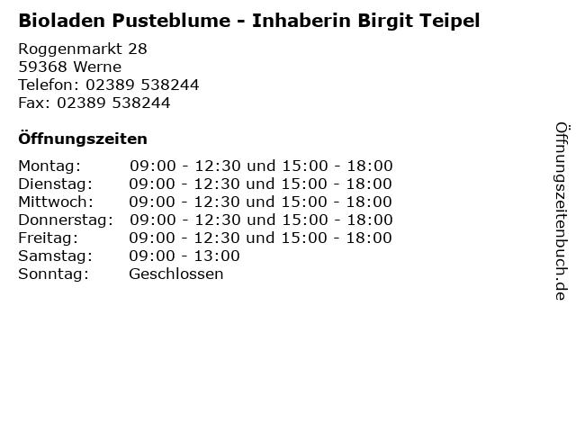 Bioladen Pusteblume - Inhaberin Birgit Teipel in Werne: Adresse und Öffnungszeiten