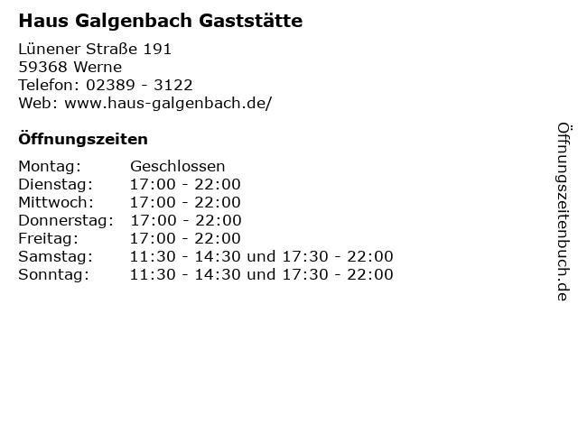 Haus Galgenbach Gaststätte in Werne: Adresse und Öffnungszeiten