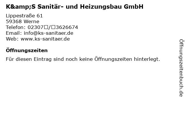 K&S Sanitär- und Heizungsbau GmbH in Werne: Adresse und Öffnungszeiten