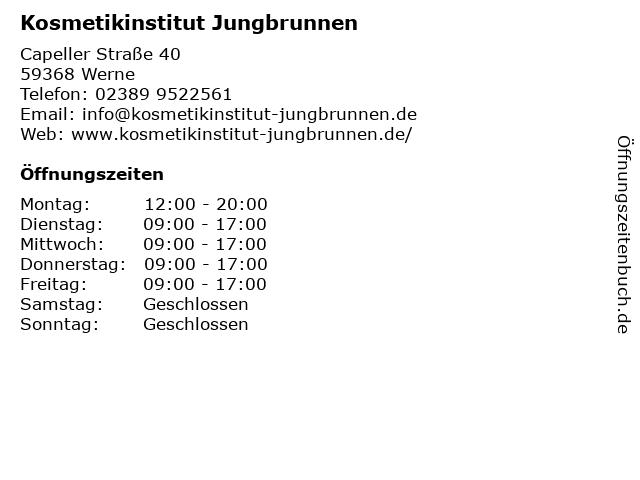 Kosmetikinstitut Jungbrunnen in Werne: Adresse und Öffnungszeiten