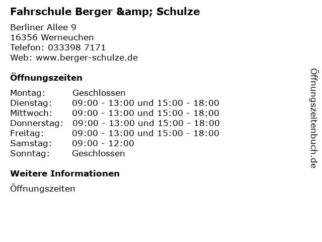 Fahrschule Berger & Schulze in Werneuchen: Adresse und Öffnungszeiten
