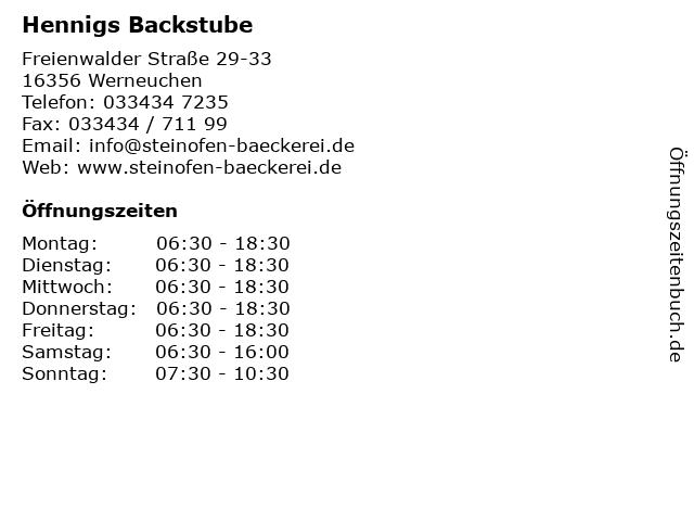 Hennigs Backstube in Werneuchen: Adresse und Öffnungszeiten