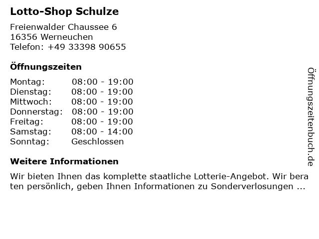 Schulze & Krause in Werneuchen: Adresse und Öffnungszeiten
