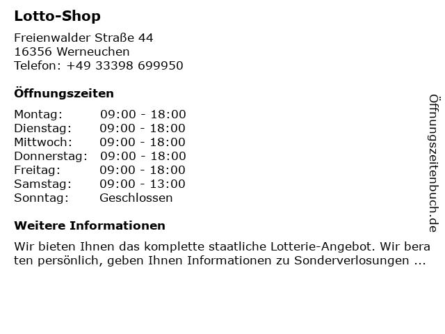 Lotto-Shop in Werneuchen: Adresse und Öffnungszeiten