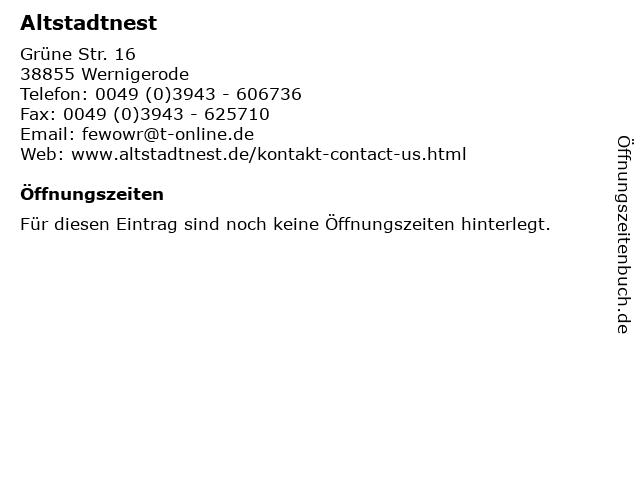 Altstadtnest in Wernigerode: Adresse und Öffnungszeiten