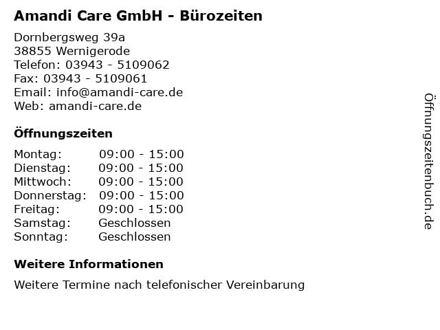 Amandi Care GmbH - Bürozeiten in Wernigerode: Adresse und Öffnungszeiten