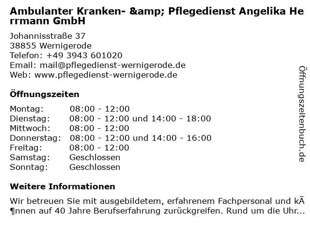 Ambulanter Kranken- & Pflegedienst Angelika Herrmann GmbH in Wernigerode: Adresse und Öffnungszeiten