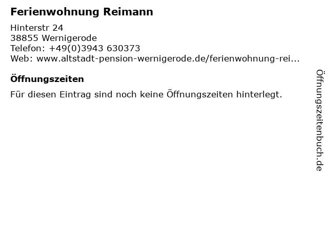 Ferienwohnung Reimann in Wernigerode: Adresse und Öffnungszeiten