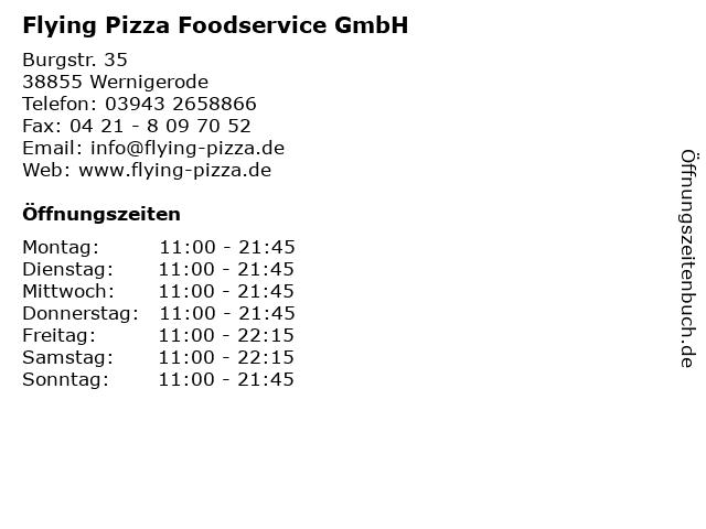 Flying Pizza Karte.ᐅ Offnungszeiten Flying Pizza Foodservice Gmbh Burgstr
