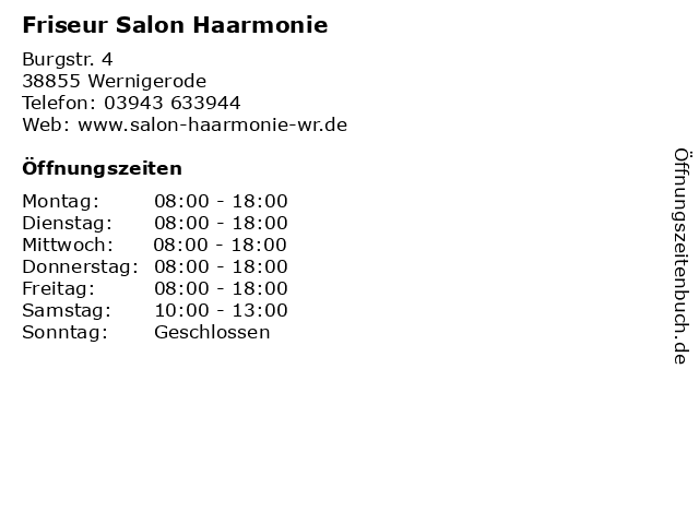 Friseur Salon Haarmonie in Wernigerode: Adresse und Öffnungszeiten