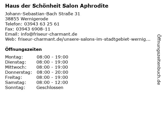 Haus der Schönheit Salon Aphrodite in Wernigerode: Adresse und Öffnungszeiten