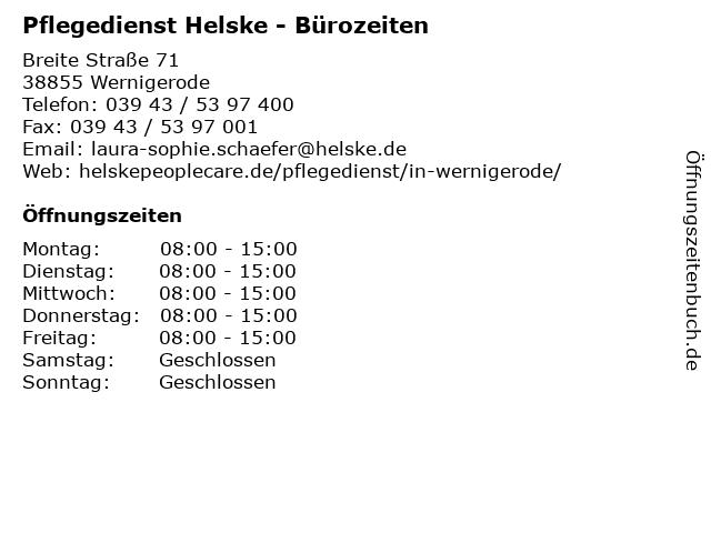Pflegedienst Helske - Bürozeiten in Wernigerode: Adresse und Öffnungszeiten