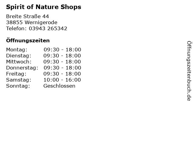 Spirit of Nature Shops in Wernigerode: Adresse und Öffnungszeiten