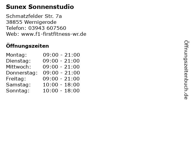 Sunex Sonnenstudio in Wernigerode: Adresse und Öffnungszeiten