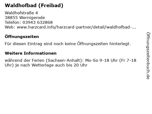 Waldhofbad (Freibad) in Wernigerode: Adresse und Öffnungszeiten