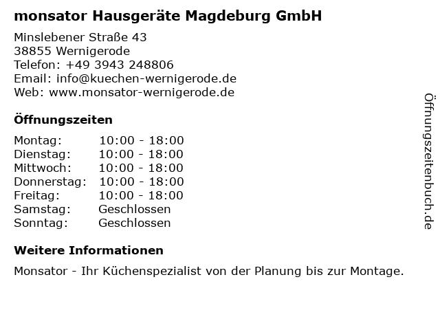 monsator Hausgeräte Magdeburg GmbH in Wernigerode: Adresse und Öffnungszeiten