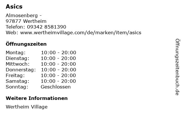 Asics in Wertheim: Adresse und Öffnungszeiten