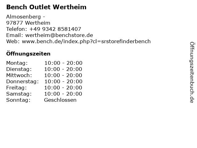 Bench Outlet Wertheim in Wertheim: Adresse und Öffnungszeiten