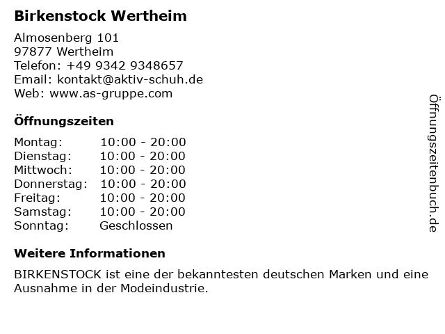 Birkenstock Wertheim in Wertheim: Adresse und Öffnungszeiten