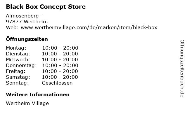 Black Box Concept Store in Wertheim: Adresse und Öffnungszeiten