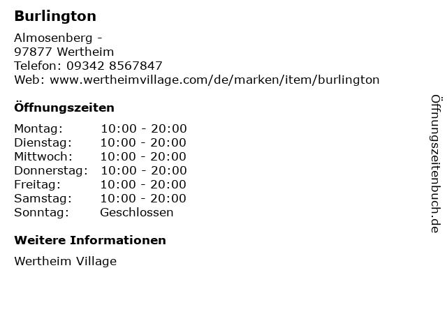 Burlington in Wertheim: Adresse und Öffnungszeiten