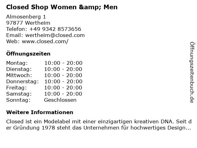 Closed in Wertheim: Adresse und Öffnungszeiten