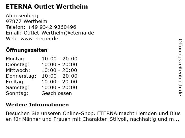 ETERNA Outlet Wertheim in Wertheim: Adresse und Öffnungszeiten