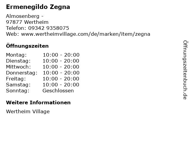 Ermenegildo Zegna in Wertheim: Adresse und Öffnungszeiten