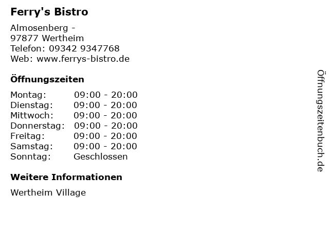 Ferry's Bistro in Wertheim: Adresse und Öffnungszeiten