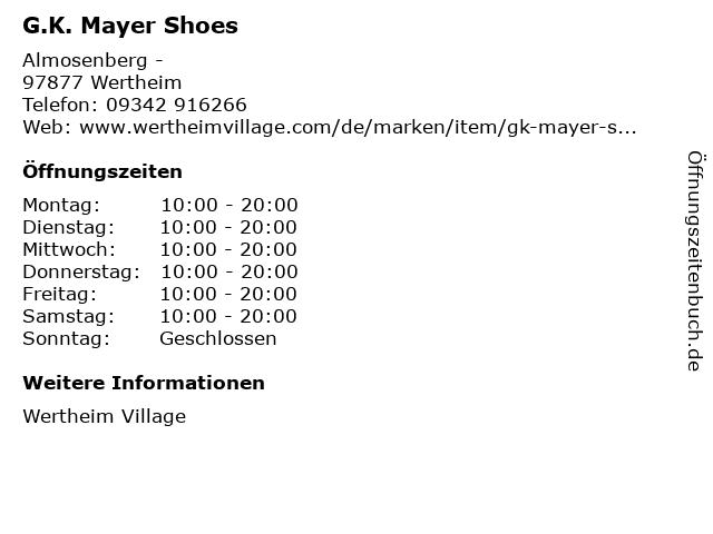 G.K. Mayer Shoes in Wertheim: Adresse und Öffnungszeiten