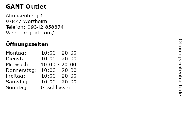 Gant in Wertheim: Adresse und Öffnungszeiten
