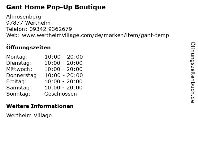Gant Home Pop-Up Boutique in Wertheim: Adresse und Öffnungszeiten