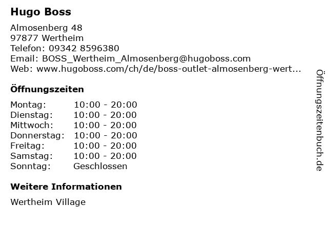 Hugo Boss in Wertheim: Adresse und Öffnungszeiten