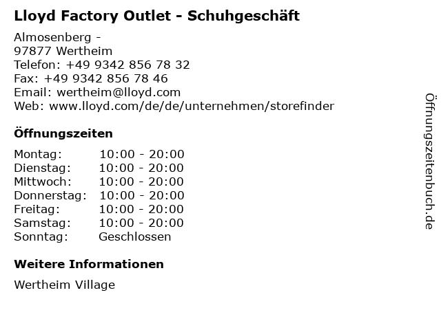 Lloyd Factory Outlet - Schuhgeschäft in Wertheim: Adresse und Öffnungszeiten