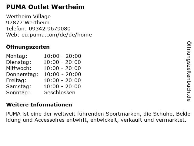 PUMA Outlet Wertheim in Wertheim: Adresse und Öffnungszeiten