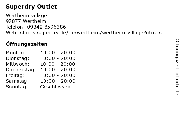 Superdry Outlet in Wertheim: Adresse und Öffnungszeiten