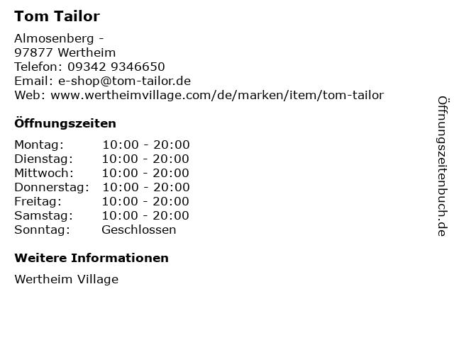 Tom Tailor in Wertheim: Adresse und Öffnungszeiten