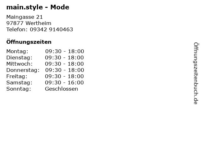 main.style - Mode in Wertheim: Adresse und Öffnungszeiten