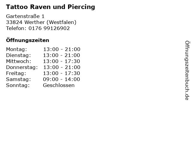 Tattoo Raven und Piercing in Werther (Westfalen): Adresse und Öffnungszeiten