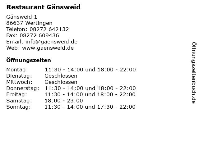 Restaurant Gänsweid in Wertingen: Adresse und Öffnungszeiten