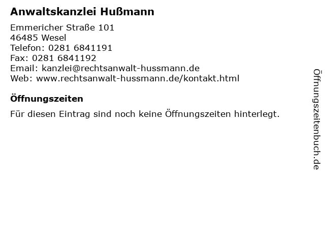 Anwaltskanzlei Hußmann in Wesel: Adresse und Öffnungszeiten