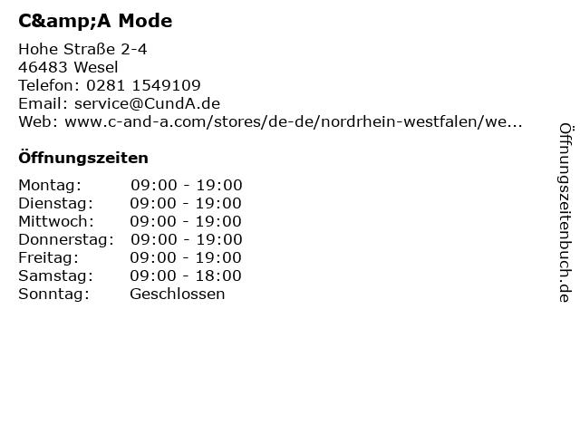 C&A Mode GmbH & Co. KG (Small Family) in Wesel: Adresse und Öffnungszeiten