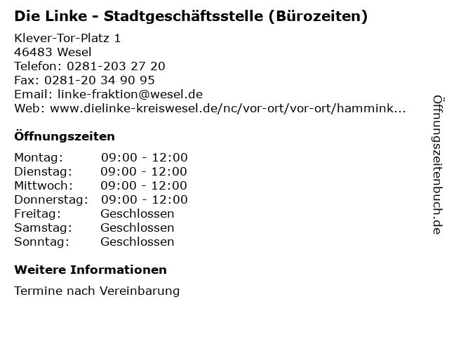 Die Linke - Stadtgeschäftsstelle (Bürozeiten) in Wesel: Adresse und Öffnungszeiten