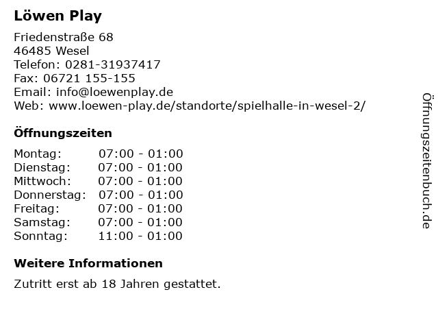 Löwen Play in Wesel: Adresse und Öffnungszeiten