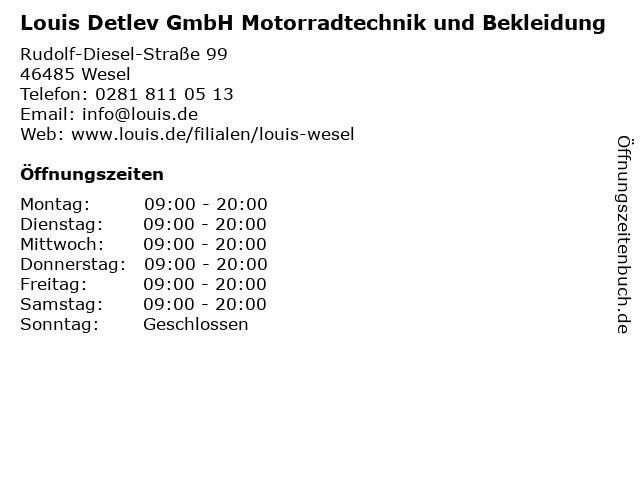 Louis Detlev GmbH Motorradtechnik und Bekleidung in Wesel: Adresse und Öffnungszeiten