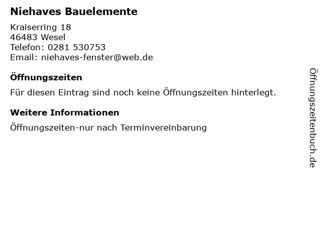 Niehaves Bauelemente in Wesel: Adresse und Öffnungszeiten