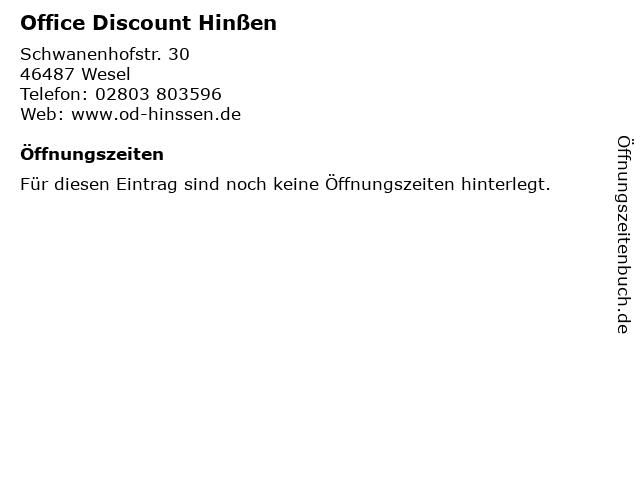 Office Discount Hinßen in Wesel: Adresse und Öffnungszeiten