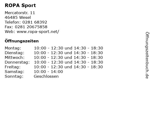 ROPA Sport in Wesel: Adresse und Öffnungszeiten